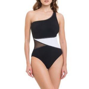 Gottex 1 Piece Mesh Inset 1 Shoulder Swimsuit US 8